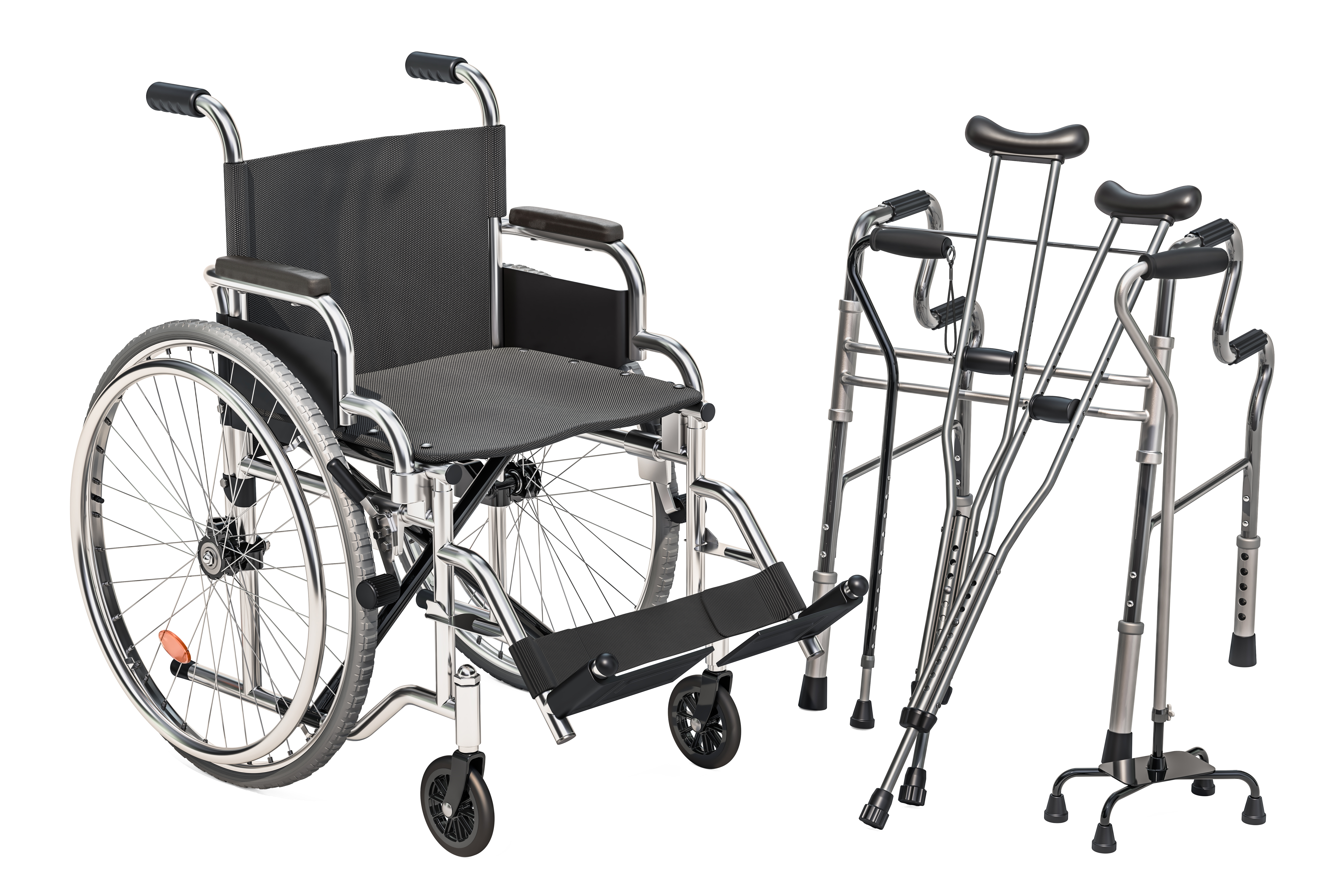 Wheelchair, walking frame and crutches isolated on white background